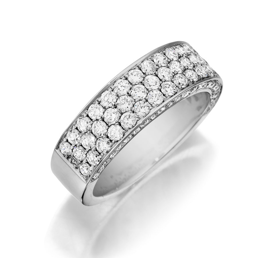 Henri Daussi White Gold Three Row Diamond Flat Band R19 Ring Angle View