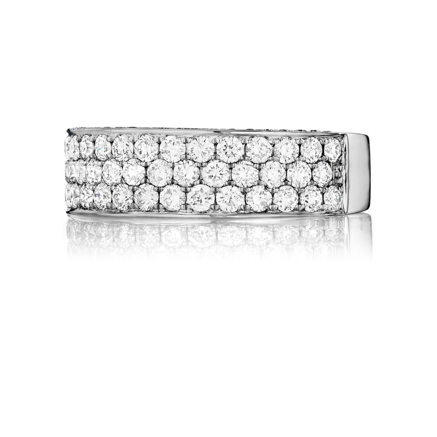 Henri Daussi White Gold Three Row Diamond Flat Band R19 Ring Top View