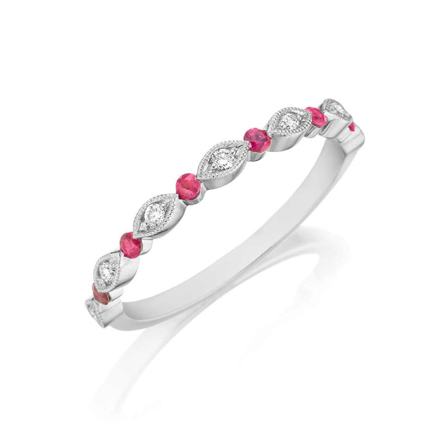 Henri Daussi White Gold Diamond & Ruby Band R26-11 Ring Angle View