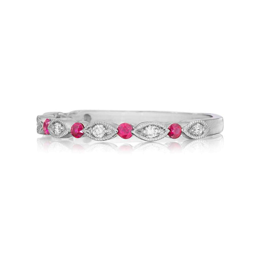 Henri Daussi White Gold Diamond & Ruby Band R26-11 Ring Top View