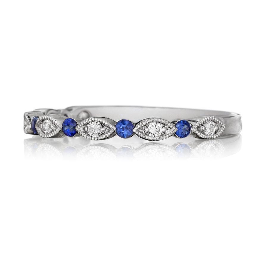 Henri Daussi White Gold Diamond & Blue Sapphire Band R26-6 Ring Top View