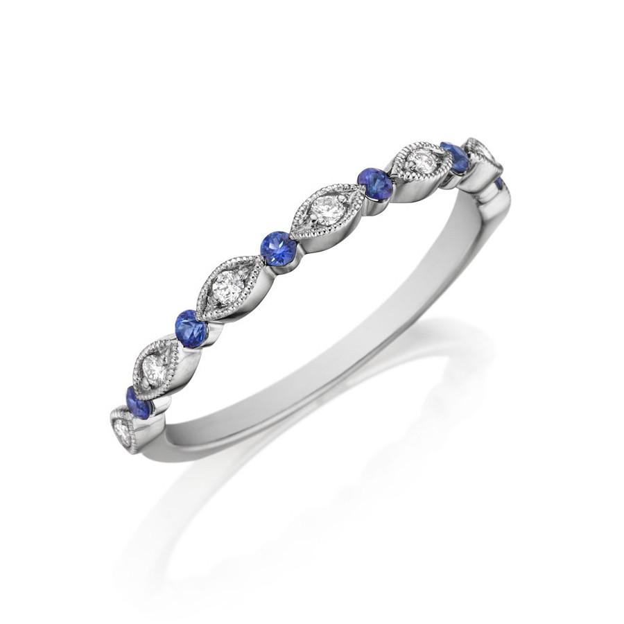 Henri Daussi White Gold Diamond & Blue Sapphire Band R26-6 Ring Angle View