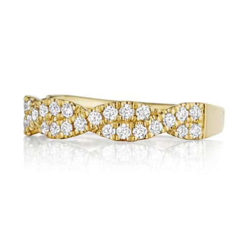 Henri Daussi Yellow Gold Twisted Diamond Wedding R31-3 Band Top View