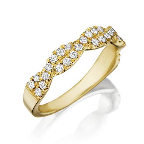 Henri Daussi Yellow Gold Twisted Diamond Wedding R31-3 Band Angle View
