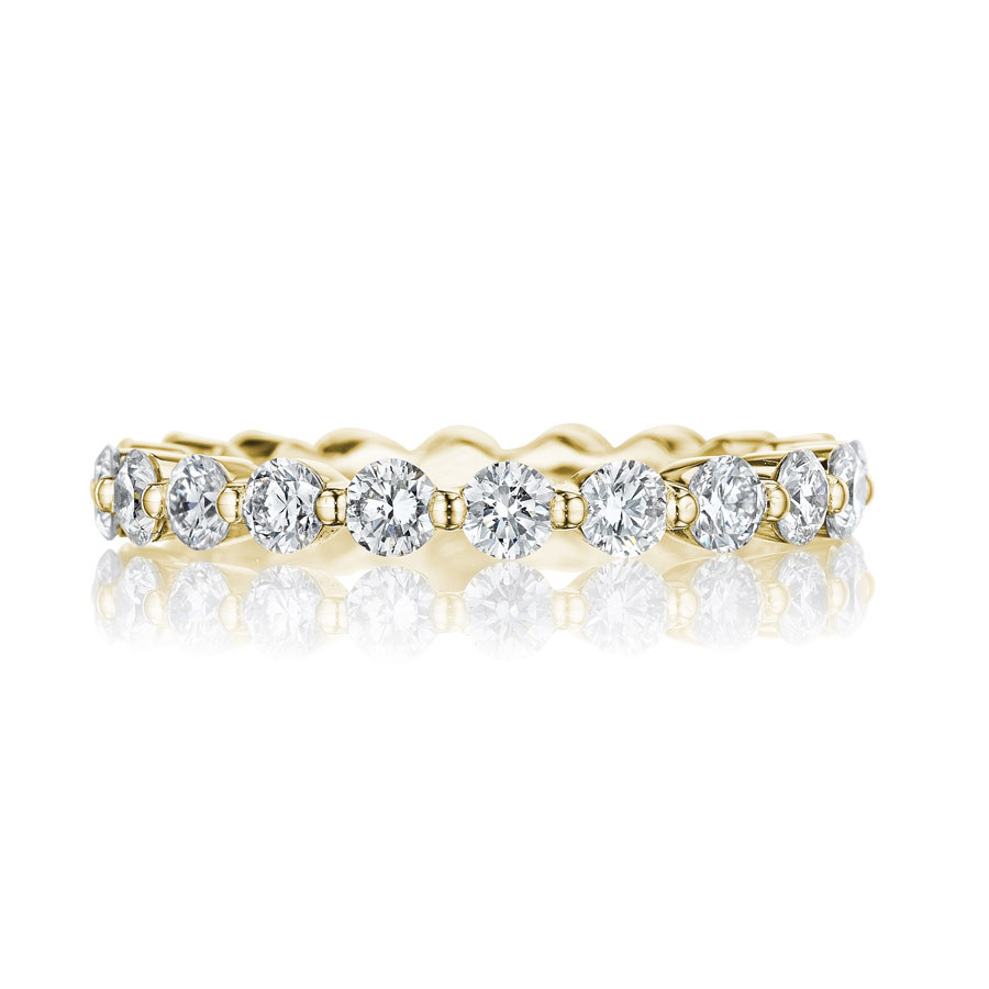 Henri Daussi R32-8 Yellow Gold Shared Prong Diamond Band Ring