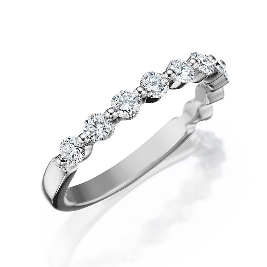 Henri Daussi White Gold Shared Prong Diamond Band R32 Ring Angle View