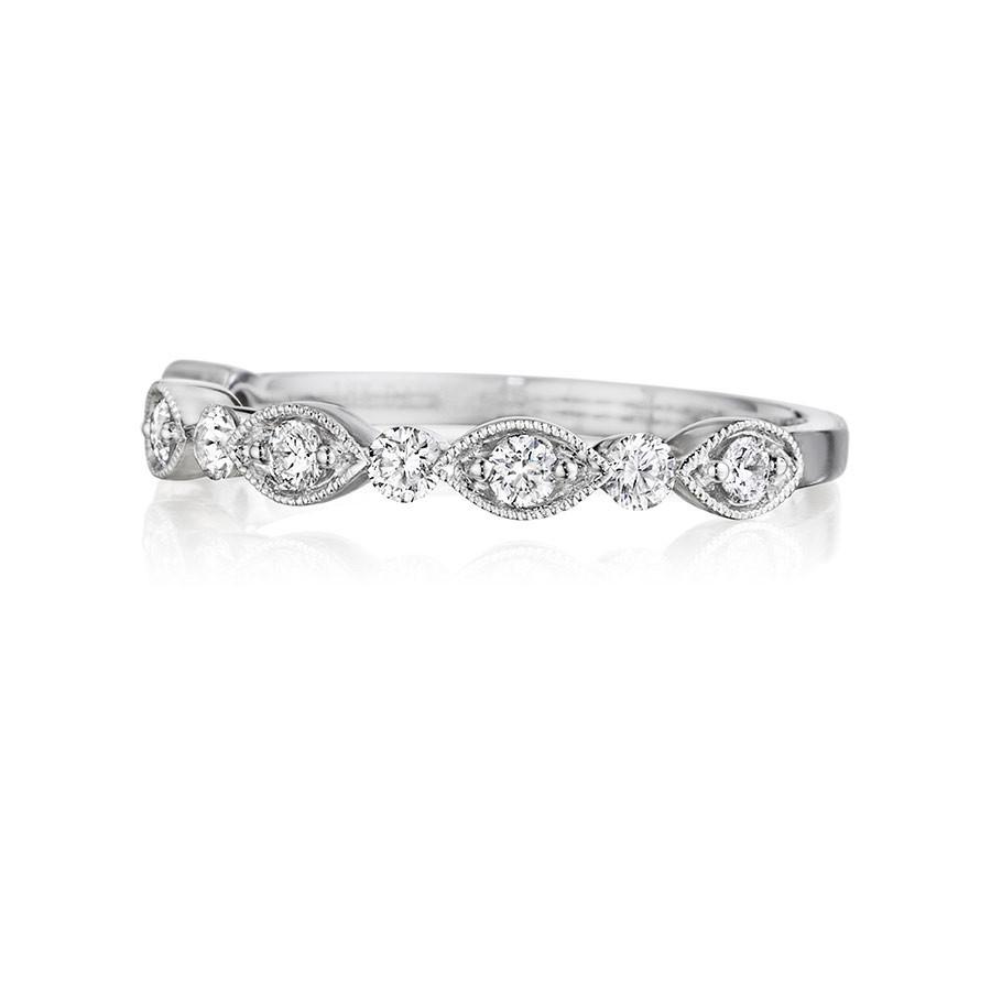 Henri Daussi R37-1 Diamond Bead Set Milgrain Wedding Band