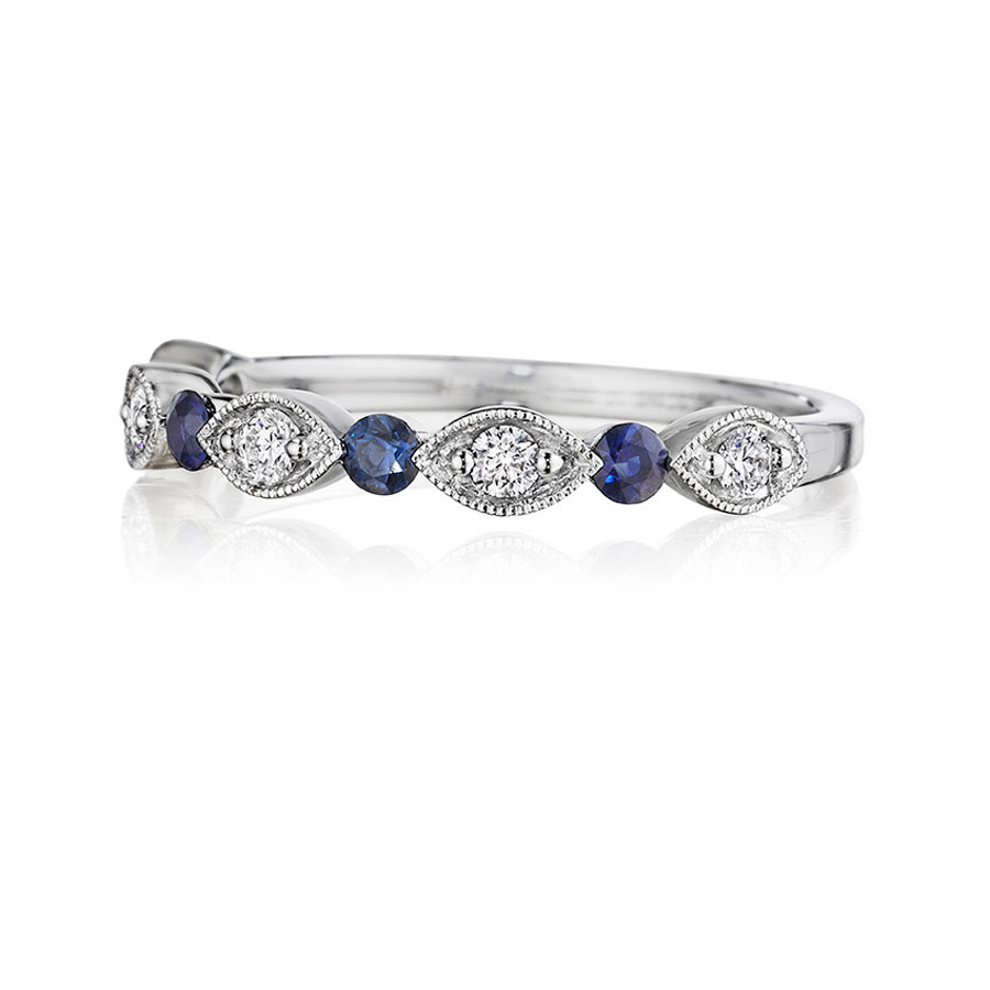 Henri Daussi Diamond & Blue Sapphire Milgrain Band R37-6 Ring Top View