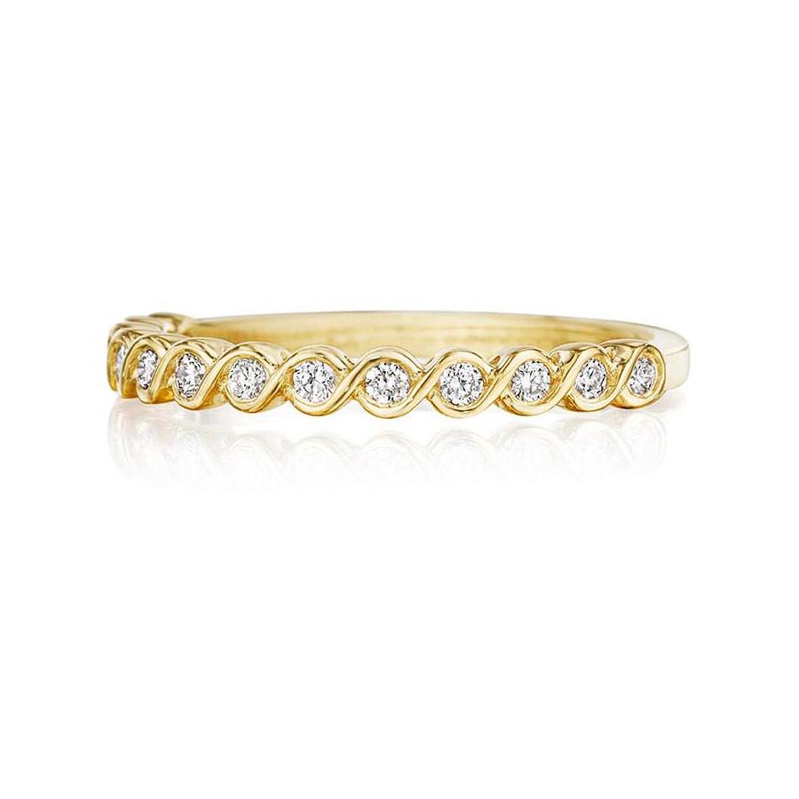 Henri Daussi Yellow Gold Diamond Bezel Twist R41-3 Band Top View