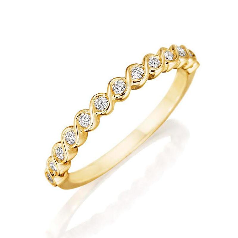 Henri Daussi Yellow Gold Diamond Bezel Twist R41-3 Band Angle View
