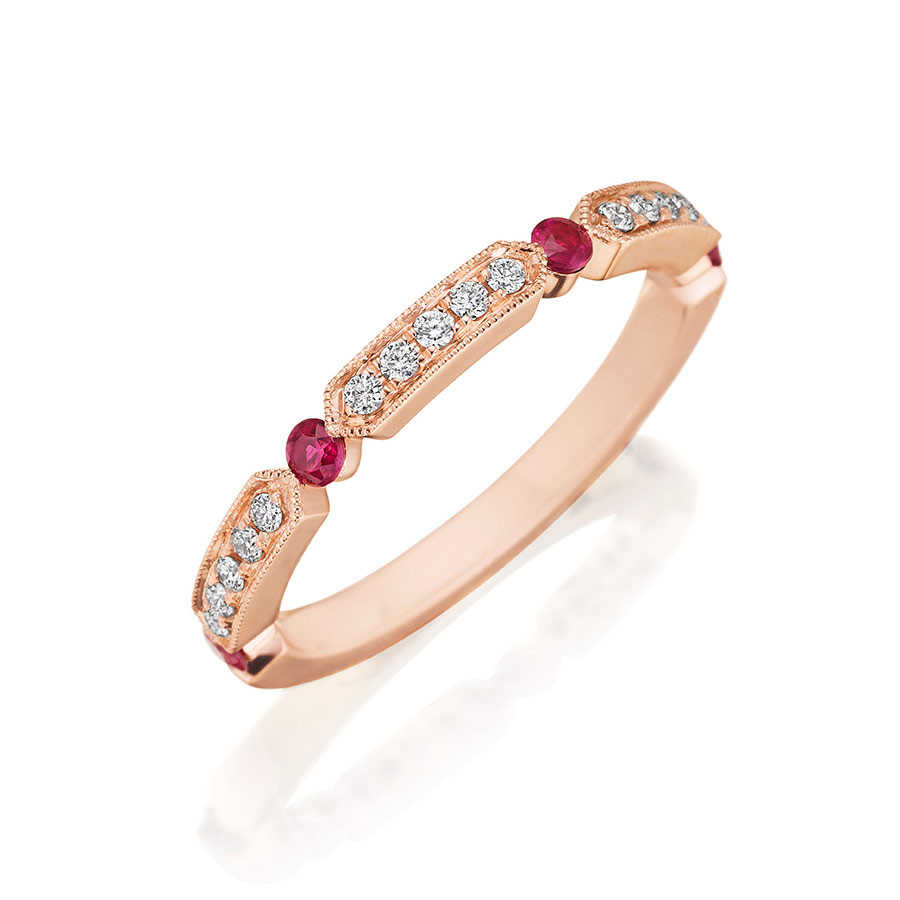 Henri Daussi Rose Gold Diamond & Ruby Band R44-8 Ring Angle View