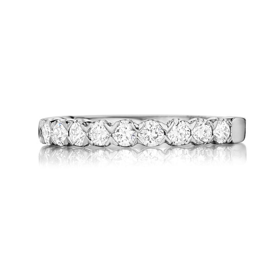Henri Daussi White Gold Brilliant Diamond Half Way Wedding R9 Band Top View
