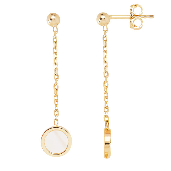 Honora Yellow Gold Mother of Pearl Slice Circle Chain Drop Earrings