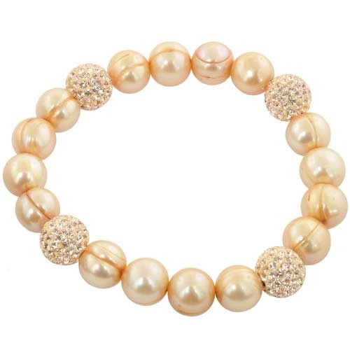 Honora Sterling Silver Champagne Ringed Freshwater Pearl & Crystal Stretch Bracelet