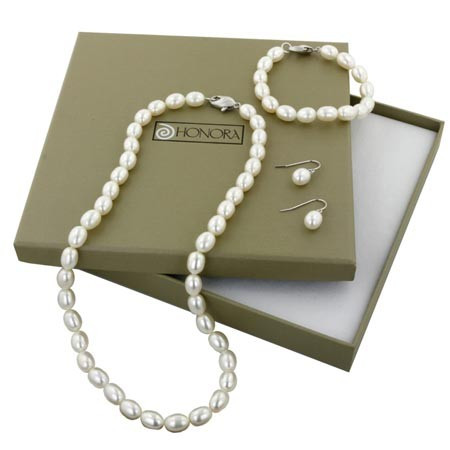 """Honora Box Set Silver Oval White Freshwater Cultured Pearl Necklace, 7.25"""" Bracelet And Dangle Earring"""