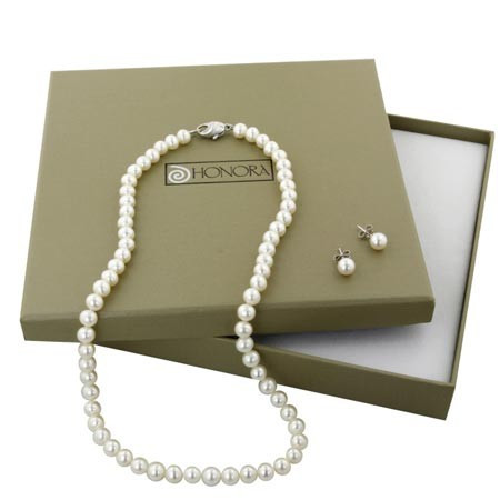 Honora Box Set White Freshwater Cultured Pearl Necklace and 6-6.5mm Stud Earring