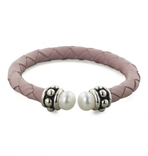Honora Girls Silver Beaded Pearl & Pink Woven Leather Bracelet