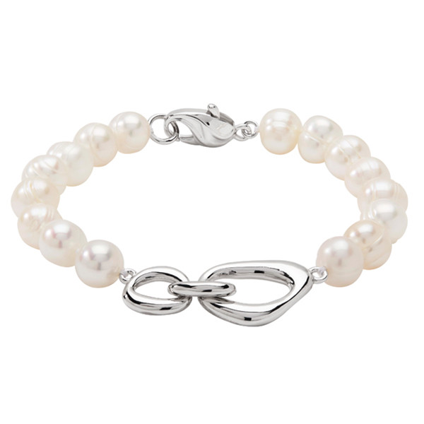 Honora Sterling Silver White Pearl Interlock Bracelet