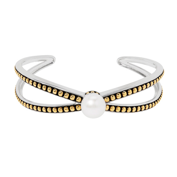 Honora Sterling Silver & Yellow Gold Pearl Cross Cuff Bracelet