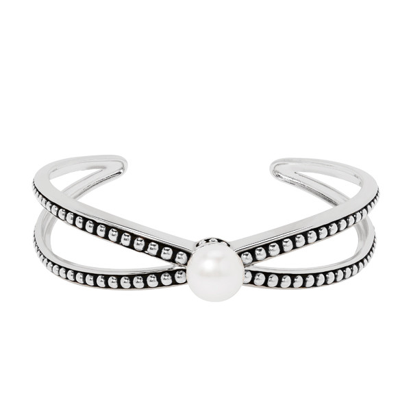 Honora Sterling Silver White Button Pearl Cross Cuff Bracelet