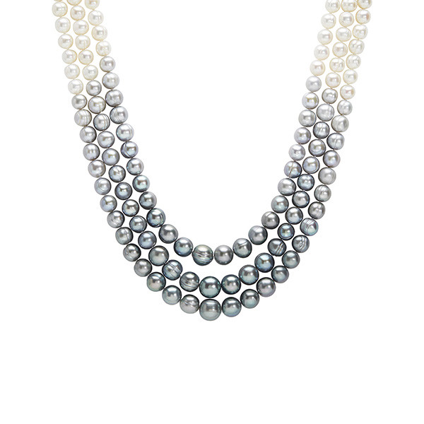 Honora Tuxedo Ombre Grey to White Dipped Triple Pearl Strand