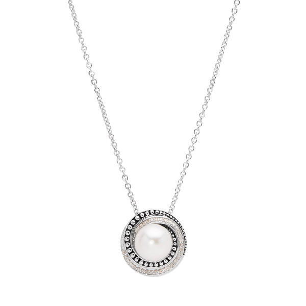 Honora Sterling Silver Diamond and Pearl Swirl Pendant Necklace