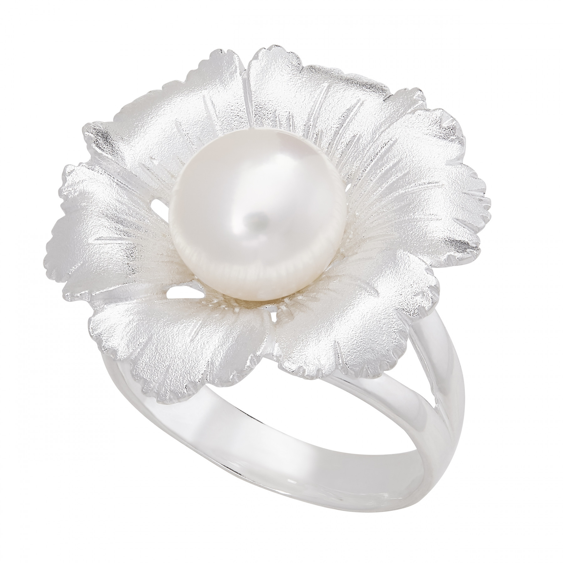 Honora Fiore Size 7 Pearl and Silver Flower Ring