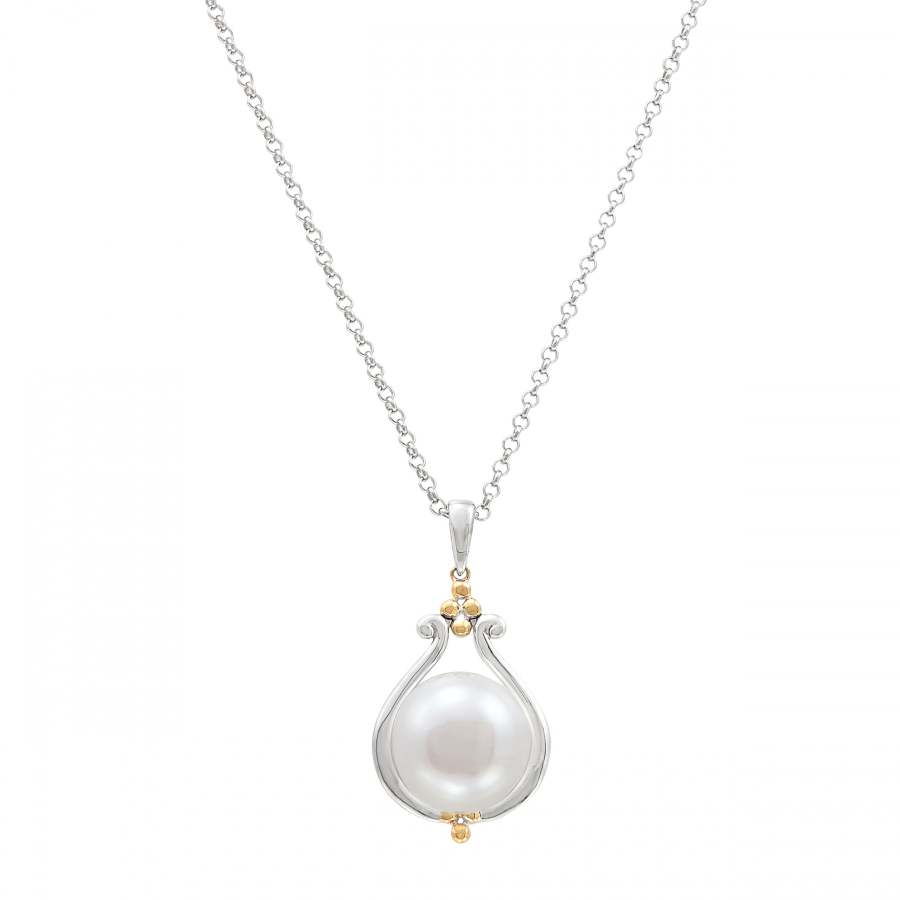 Honora Pearl Teardrop Gold and Silver Necklace
