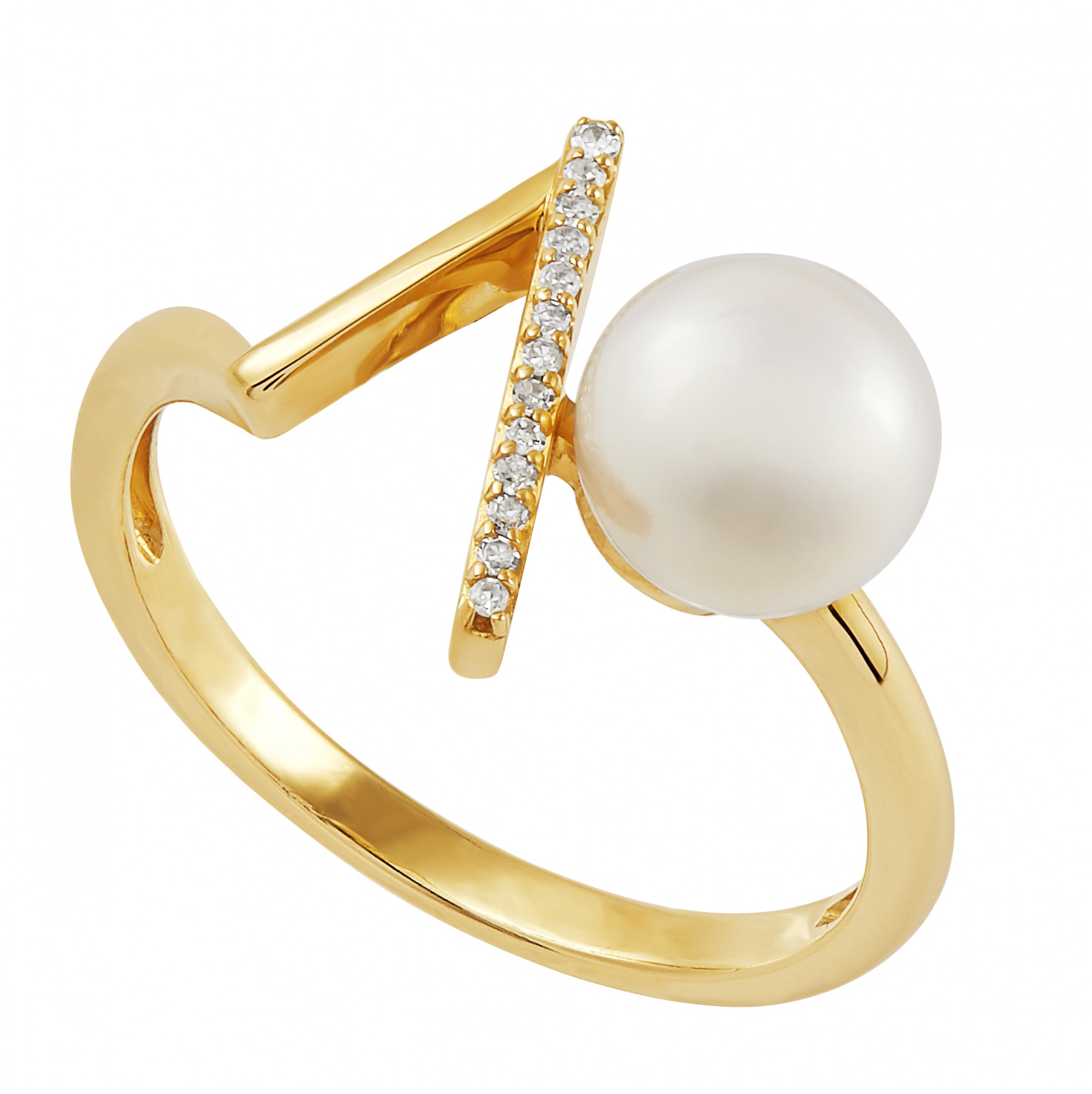 Honora Pearl and Diamond V Ring in 14K Gold