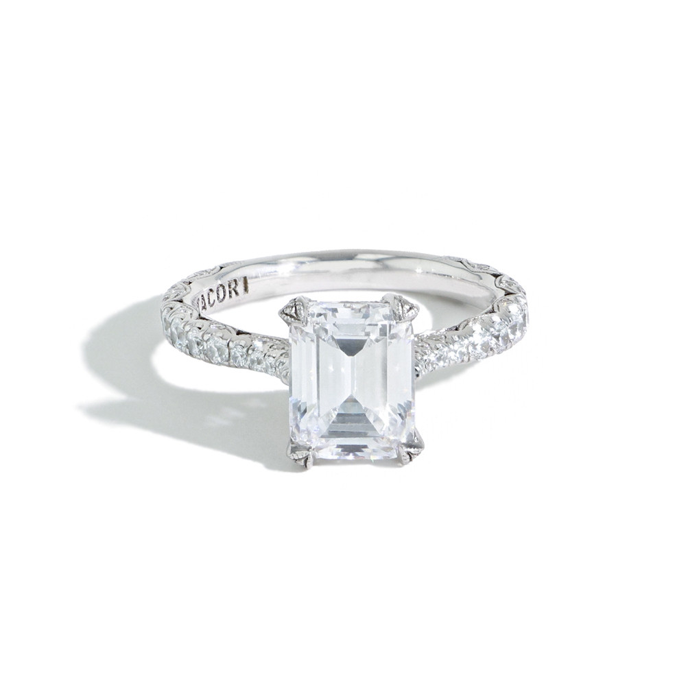 Tacori Royal T Emerald Cut Pave Diamond Hidden Halo Engagement Ring Ht 2663 Ec 9x7