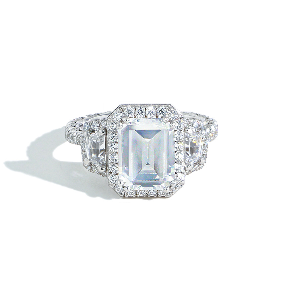 Tacori Royalt Emerald Cut Halo Three Stone Cadillac Sides Ht2677cu