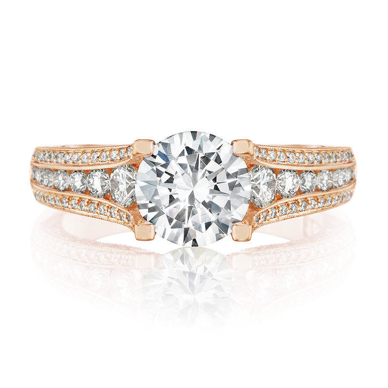 Tacori HT2513RD65-12X-PK Rose Gold Channel Set Engagement Classic Crescent Ring Top View