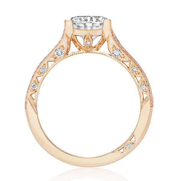 Tacori HT2513RD65-12X-PK Rose Gold Channel Set Engagement Classic Crescent Ring Edge View