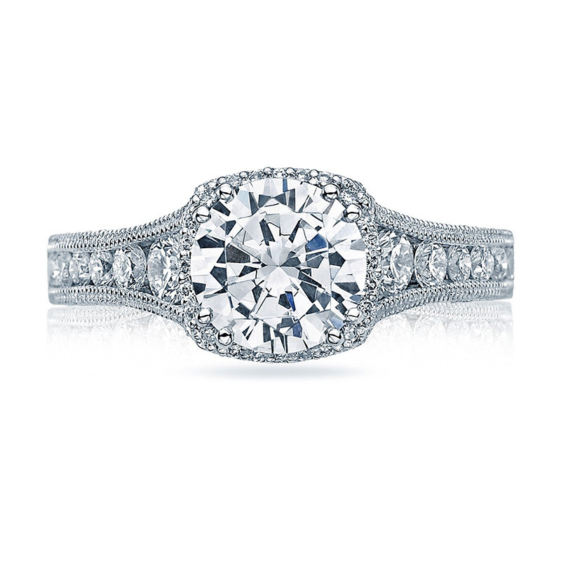 Tacori HT2515RD55-12X Tapered White Gold Reverse Crescent Engagement Ring Top View