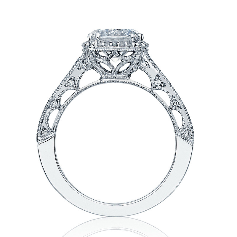 Tacori HT2515RD55-12X Tapered White Gold Reverse Crescent Engagement Ring Edge View