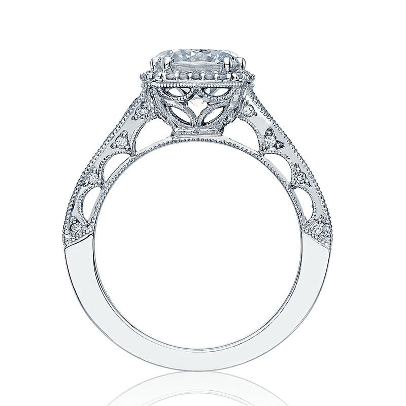 Tacori HT2515RD65-12X Tapered Platinum Engagement Reverse Crescent Ring Edge View