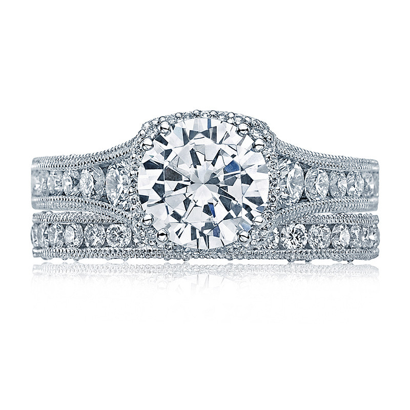 Tacori HT2515RD8-12X Tapered White Gold Engagement Reverse Crescent Ring with Band