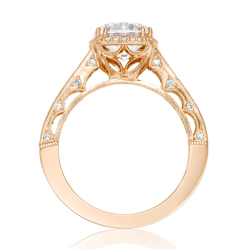 Tacori HT2515RD65-12X Tapered Rose Gold Engagement Reverse Crescent Ring Edge View
