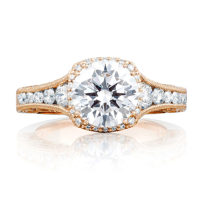 Tacori HT2515RD65-12X Tapered Rose Gold Engagement Reverse Crescent Ring Top View