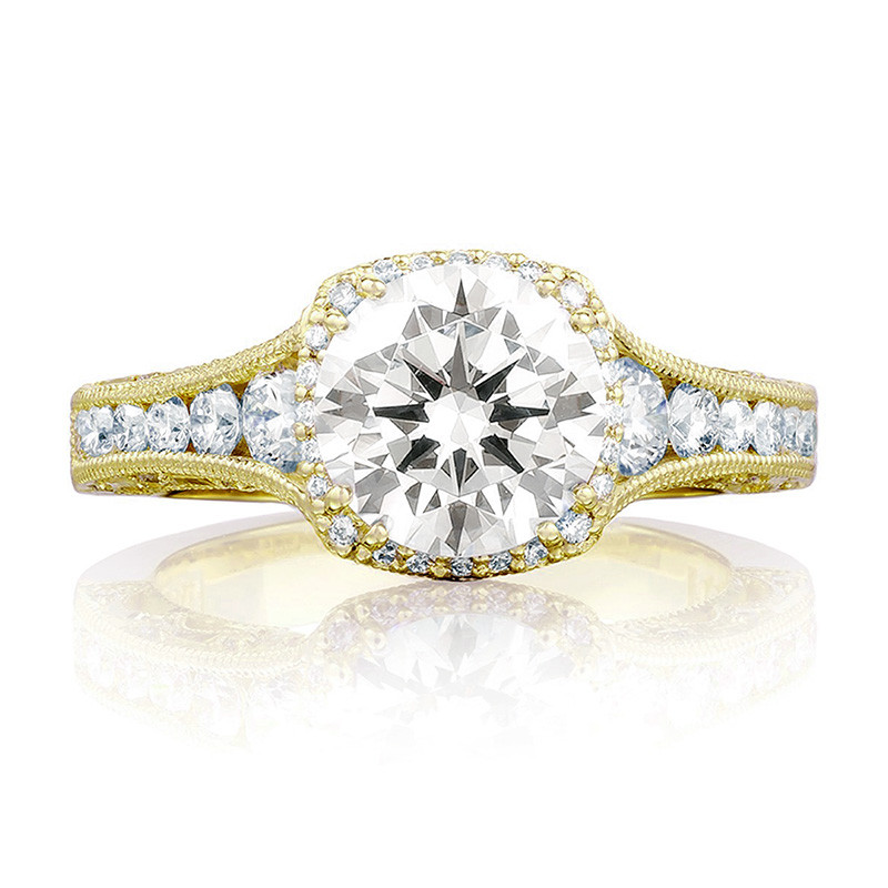 Tacori HT2515RD55-12X Tapered Yellow Gold Engagement Reverse Crescent Ring Top View