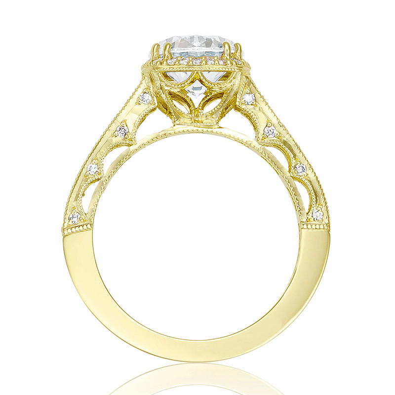 Tacori HT2515RD55-12X Tapered Yellow Gold Engagement Reverse Crescent Ring Edge View