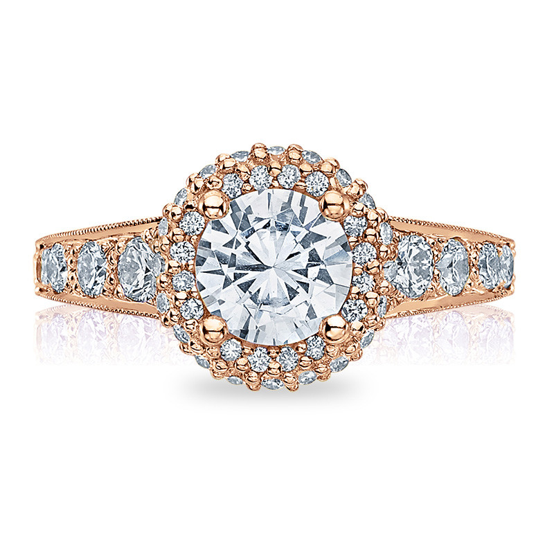 Tacori HT2516RD65-PK Rose Gold Tapered Engagement Blooming Beauties Ring Top View