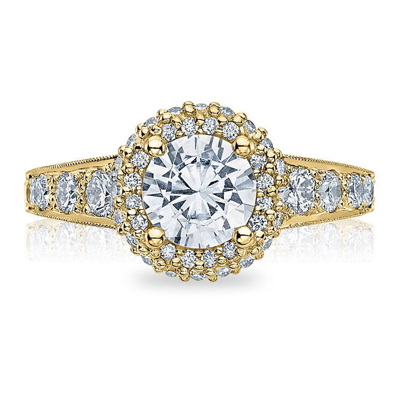 Tacori HT2516RD8-Y Yellow Gold Tapered Engagement Blooming Beauties Ring Top View