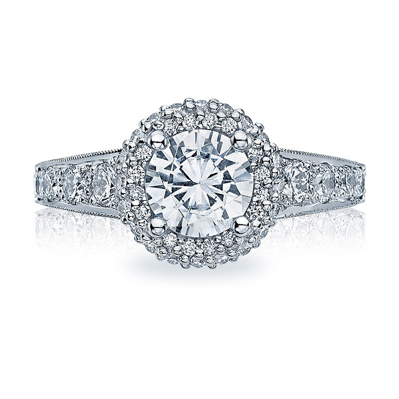 Tacori HT2516RD8 Platinum Tapered Engagement Blooming Beauties Ring Top View