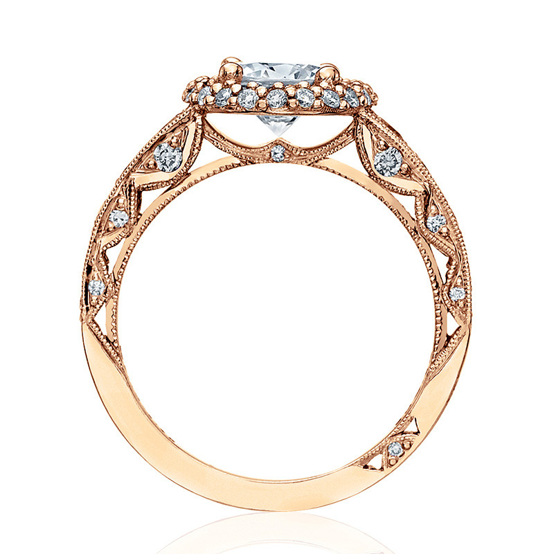 Tacori HT2516RD7-PK Rose Gold Tapered Engagement Blooming Beauties Ring Edge View