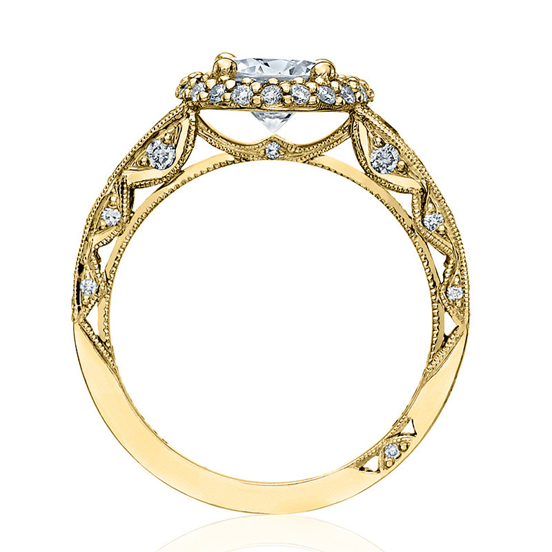 Tacori HT2516RD8-Y Yellow Gold Tapered Engagement Blooming Beauties Ring Edge View