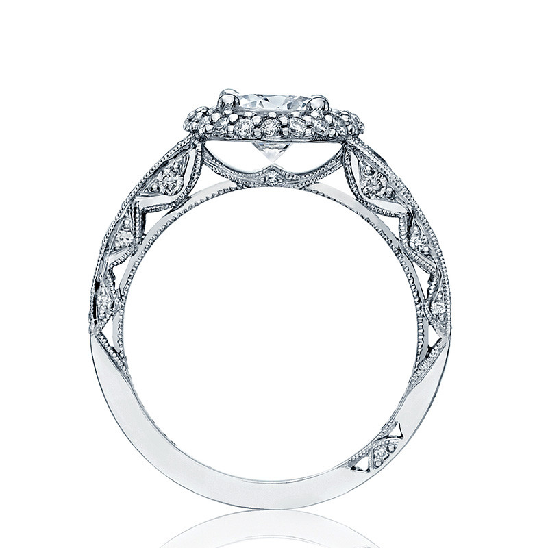 Tacori HT2516RD8-W White Gold Tapered Engagement Blooming Beauties Ring Edge View
