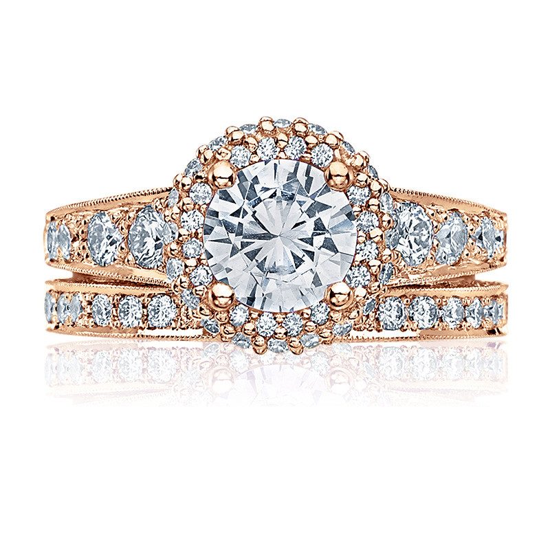 Tacori HT2516RD55-PK Rose Gold Tapered Engagement Blooming Beauties Ring with Band