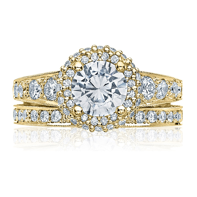 Tacori HT2516RD8-Y Yellow Gold Tapered Engagement Blooming Beauties Ring with Band