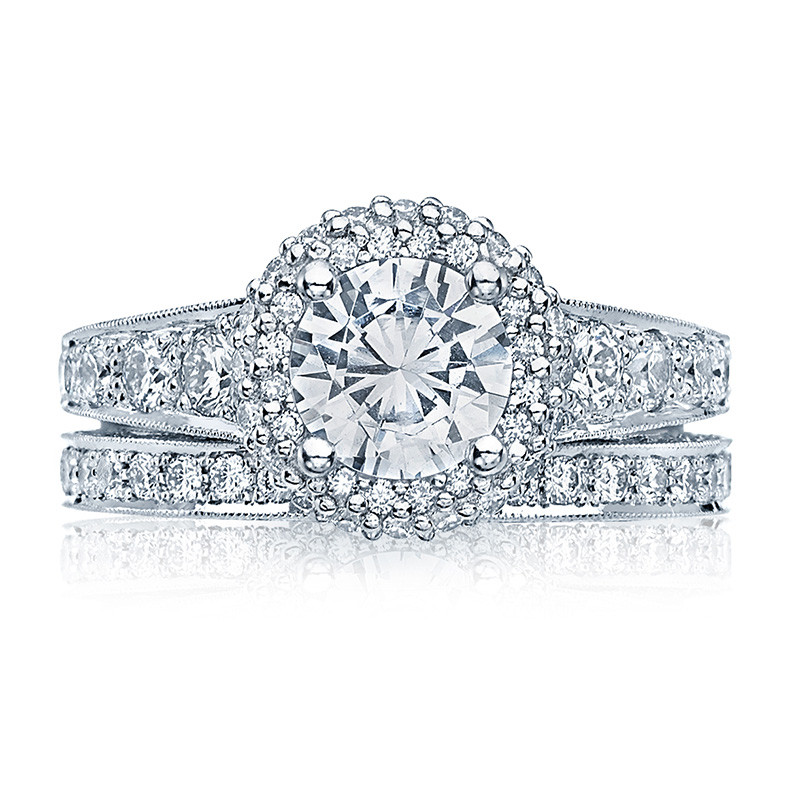 Tacori HT2516RD6-W White Gold Tapered Engagement Blooming Beauties Ring with Band